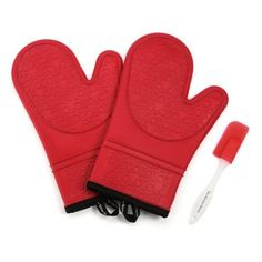 The Kitchen Haven Silicone Oven Mitts, Quilted Cotton Lining, Red Pair with Spatula Red Ovens, Holiday Gifts For Men, Christmas Gifts, Best Oven, Tabletop Accessories, Oven Glove, Good Grips, Pot Holders, Kitchen Products