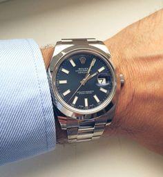 Rolex Datejust II 41mm Blue Dial Mens Watch 116334-BLURO @majordor #majordor #rolexwatches #rolexdatejust2 #luxurywatches | www.majordor.com