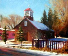 SOLD I Christmas Snow I 20x24 I Dix Baines I Fine Artist Original Oil Paintings I Southwest Churches I Southwest Paintings I www.dixbaines.com