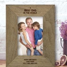 Engraved Best Dad in the World Rustic Photo Frame