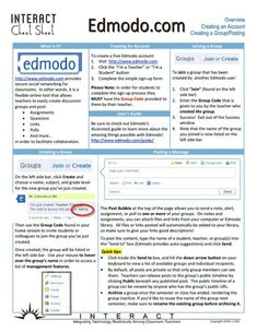 The Teacher's Cheat Sheet For Edmodo.  There is a social network designed just for your classroom and it's called Edmodo.