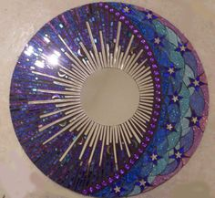 Mosaic Ideas | Blue and Purple Round Glitter Glass Mosaic Mirror by spoiledrockin