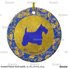 Scottish Terrier Gold and Blue Personalize Ceramic Ornament
