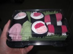 Baby Sock Sushi box....made this for a friends baby shower!