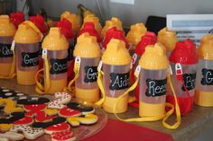 Mickey Mouse Party Favors - Dollar Store Water Bottles with Chalkboard Labels (for a personalized favor!) - all things DIY