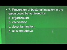 (3) COSMETOLOGY: TEST questions: sanitation, bacteriology; state board w...