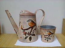 Nádoby - Súprava - vtáky v tŕní, krhlička a črepník - 6781703_