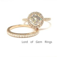 Round Moissanite Engagement Ring Sets Pave Moissanite Wedding 14K Rose Gold 7mm