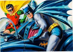 Original paintings by Bob Powell (pencils) and Norman Saunders (paintings) for the Batman trading card series, printed by Topps, 1966.