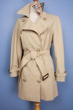 Womens BURBERRY bespoke short trench coat mac - size UK 10 medium