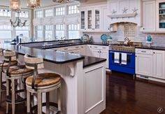 Cottage Kitchen with Fireclay Tile Nickel 2 x 6, Custom hood, Subway Tile, Undermount sink, Soapstone counters, U-shaped