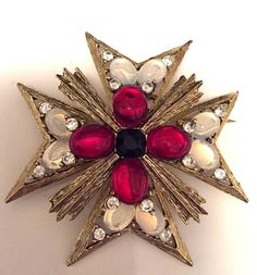 Vintage Signed Weiss Cross  Pin Brooch #Weiss
