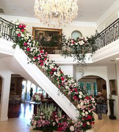 At the Hidden Garden Floral Studio we are dedicated to providing exceptional service, innovative designs and unique floral arrangements. Wedding Staircase Decoration, Wedding Stairs, Floral Wedding Decorations, Flower Decorations, Wedding Flowers, Fuschia Wedding, Wedding Entrance, Hidden Garden, Stair Decor
