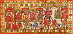 Procession+of+Indian+Religious+Festival+(Phad+Painting+on+Cloth+-+Unframed))+