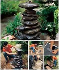 Fuente decorativa hecha con piedras