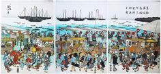 (Feast in Waiting for the Moon at Takanawa, Edo on the Twenty-sixth Night). Series: Famous Places in Edo. ANDO (UTAGAWA) Hiroshige. Note: sushi stand shop is illustrated on the right panel of the three-folded pictures.
