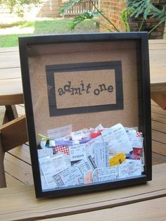 Ticket Stub Memory Box - photo inspiration - diy version: use shadow box frame Cute Crafts, Crafts To Do, Craft Projects, Projects To Try, Crafty Craft, Crafting, Decorating Your Home, Decorating Ideas, Diy Gifts
