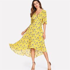SheIn offers Surplice Wrap Dip Hem Dress & more to fit your fashionable needs. Dress P, Wrap Dress, Nice Dresses, Summer Dresses, Yellow Dress, Trendy Outfits, Trendy Fashion, Dresses Online, Beachwear