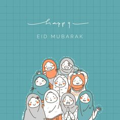 No photo description available. Hijab Anime, Anime Muslim, Illustration Girl, Watercolor Illustration, Hijab Drawing, Islamic Cartoon, Happy Eid Mubarak, Hijab Cartoon, Cartoon Background