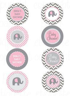 Chevron de color rosa y gris elefante bebé ducha imprimir tu