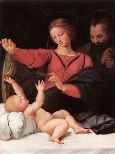 """Raffaello Sanzio (Urbino 1483 – Roma 1520), """"Madonna con il Bambino e San Giuseppe"""", 1511-1512. (Madonna del velo detta anche Madonna di Loreto e Madonna di Santa Maria del Popolo. olio su tavola, 120×90 cm Chantilly, Musée Condé"""