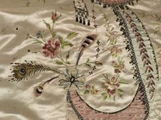 """""""Grand habit"""" or court robe with train, """"en fourreau"""", and petticoat, said to belong to Marie-Antoinette of France  Attributed to the dressmaker Marie-Jean """"Rose"""" Bertin (1747 - 1813). Silk satin, applique, embroidered with metal threads, chenille, sequins and applied glass pastes, 1780's, altered in 1870's, Bourbon. [4th of four pins]"""