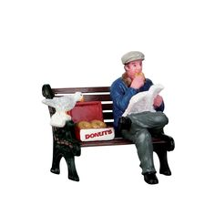 While enjoying his morning paper, he eats his donut on a bench. Will he be able to keep the birds away from his donuts? - Product Type: Figurine - Approx. size (H x W x D): 1.89 x 0.00 x 0.00 inches 4