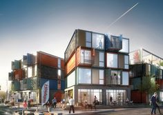 Using shipping containers for housing near a Danish rock music museum makes sense, sort of