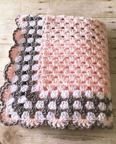 Pink Grey Baby Blanket, Pink Baby Blanket, Crochet Baby Blanket, Pink Crochet Afghan, Baby Afghan Pink Grey Blanket Crochet Blanket Handmade – Awesome Knitting Ideas and Newest Knitting Models Crochet Simple, Unique Crochet, Free Crochet, Quick Crochet, Kids Crochet, Chunky Crochet, Vintage Crochet, Crochet Toys, Crochet Ideas