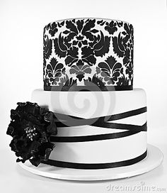 Black and white two tiered cake by Nettyand, via Dreamstime