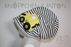 """Mützen - Set: Beanie """"Radlader, Bagger"""", gelb & Loop - ein Designerstück von knoepfchenundanton bei DaWanda"""