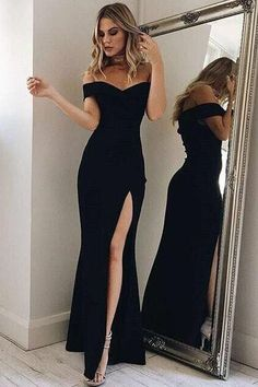 Off-the-Shoulder Ankle-Length Black Split Prom Dress Party Dress PG436
