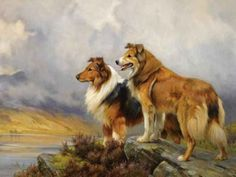 Wright Barker - Two Collies Above a Lake