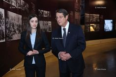 Cypriot President Nikos Anastasiadis listens to an explanation during tour around Armenian Genocide Museum-Institute.