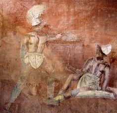Painting of a gladiator fight hosted by or held in honour of the deceased. Tomb of Caius Vestorius Priscus near the Vesuvian Gate. #Pompeii