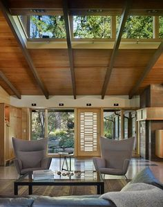 love the clerestory-windows and the wood ceiling