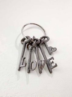 maybe have family instead of love written in the key and each name on the long part of the key Under Lock And Key, Key Lock, Antique Keys, Vintage Keys, Vintage Jewelry, Old Keys, Key To My Heart, Door Knockers, Love Is All