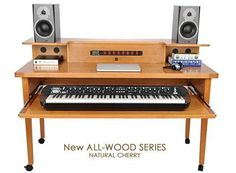 This is pretty perfect! Grande Model Home Recording Studio Desk with Power-up Cable Cabinet