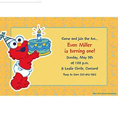Custom elmo first birthday invitations party city aris first custom elmo first birthday invitations stopboris Choice Image