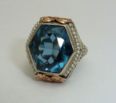 Spectacular Art Deco Blue Spinel & Pearl Ring in White & Rose Gold