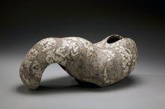 Wada Morihiro, escultura japonesa, cerámica japonesa, buque japonés, formas no utilitarios japoneses, gres japonés, gres esmaltado japonesa de 1991
