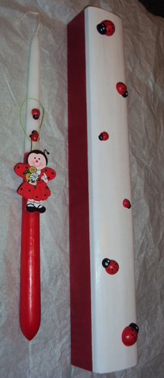 Greek Easter candle-lampada with wooden box decorated with ladybugs!Ready to ship! by artoflavender on Etsy