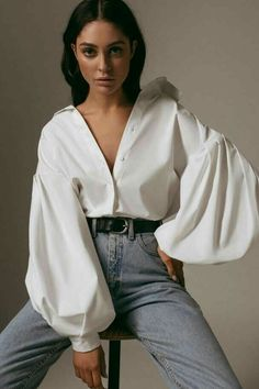Women White Casual Puff Sleeve Button Up Shirt - S Model Poses Photography, Studio Portrait Photography, Vogue Photography, Studio Portraits, Modelling Photography, Photography Business, Photography Studios, Photography Challenge, Clothing Photography