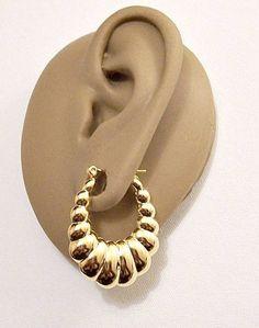 7bcbd13c0eb0b3 Monet Large Shrimp Oval Pierced Post Stud Earrings Gold Tone Vintage  Polished Rib Lined Puffed Graduated