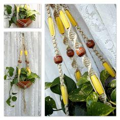 Sunshine Handmade Natural Hemp Macrame Plant Hanger- Hanging Planter