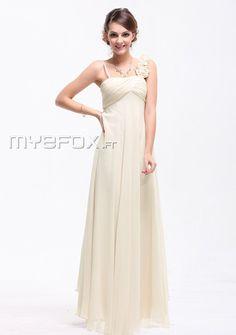 Belle robe demoiselle d'honneur A-ligne au sol bretelle unique - Robe de demoiselle d'honneur