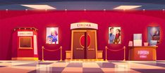 Cinema with cashbox and counter with popcorn , Scenery Background, Festival Background, Cartoon Background, Luxury Movie Theater, Cinema Movie Theater, Anime Scenery Wallpaper, Cartoon Wallpaper, Cinema Popcorn, Casa Anime