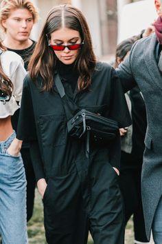 Kaia Gerber / Black Boilersuit Jumper / Red Lens Sunglasses