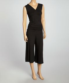 Look at this Zashi Black V-Neck Sleeveless Jumpsuit on #zulily today!