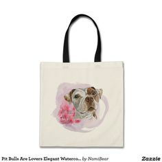 "Pit Bulls Are Lovers Elegant Watercolor Painting Tote Bag. This is a drawing of a brown and white pit bull dog painted with watercolor. It says ""pit bulls are lovers"" in this design. Be an advocate for pit bulls by using these items in your daily lives!"